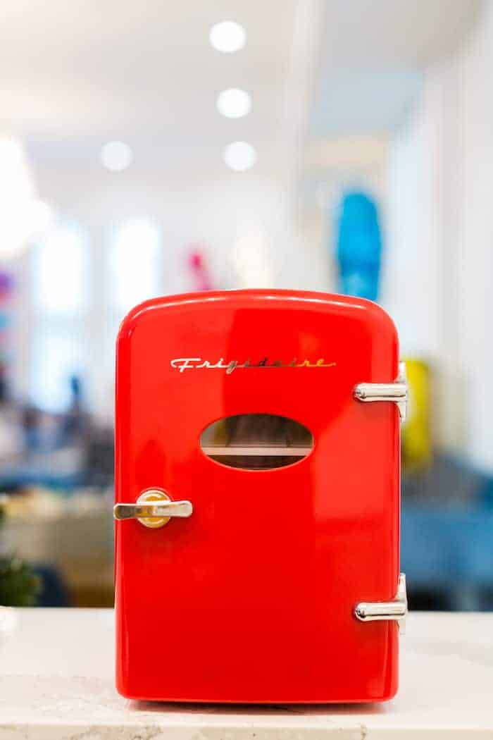 Retro red mini fridge