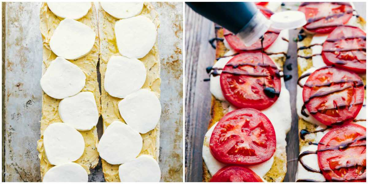 step two and three of caprese garlic bread. The image on the left shows garlic bread on rimmed baking sheet with mozzarella cheese, the image on the right shows the caprese bread with the cheese melted with fresh sliced tomatoes having the balsamic glaze drizzled over the top.