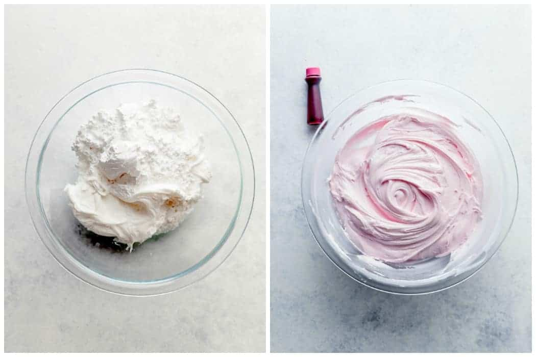Two imgaes showing how to make frosting for sugar cookie bars, using a glass bowl to show the white frosting and confectioners sugar in the left image, and showing what the frosting looks like mixed with pink food coloring added, by Princess Pinky Girl
