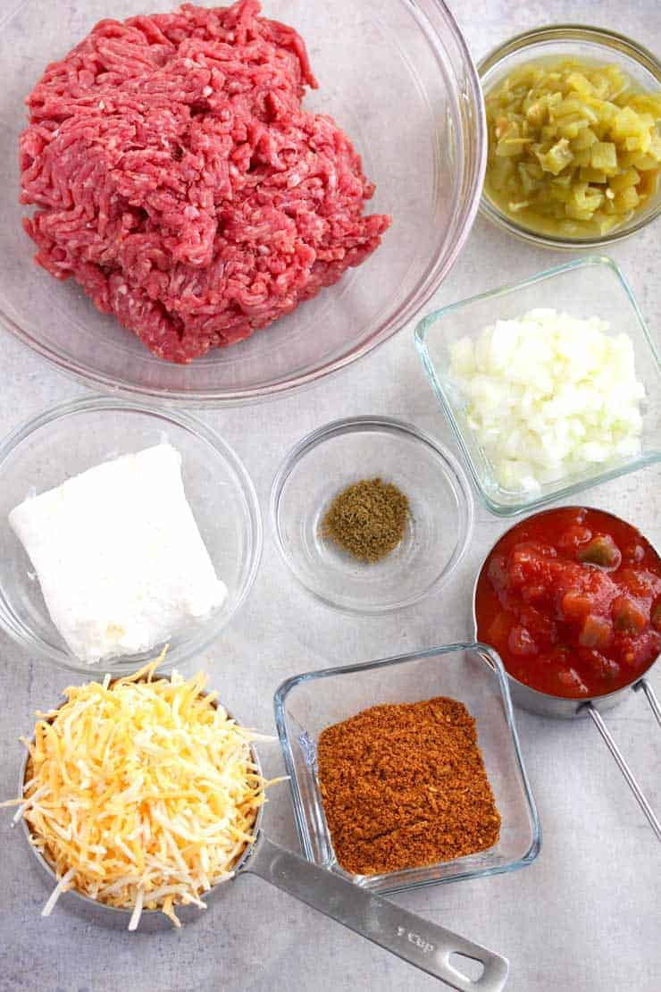 Ingredients to make taco dip.