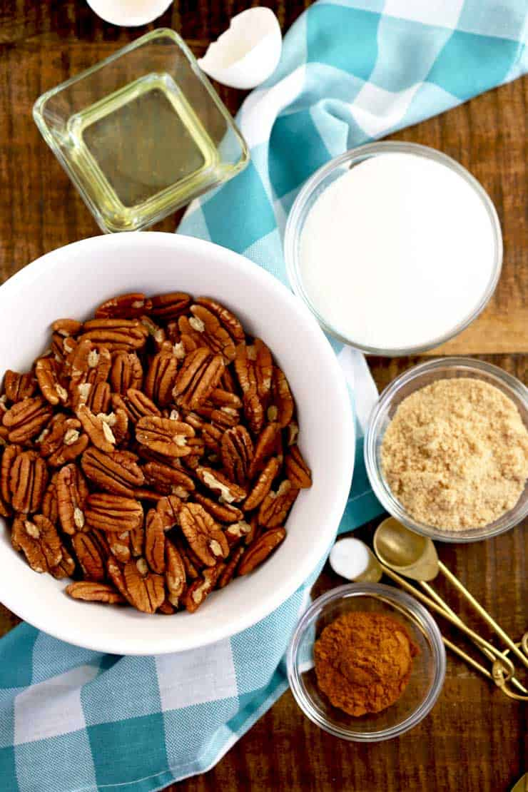 Ingredients to make candied pecans