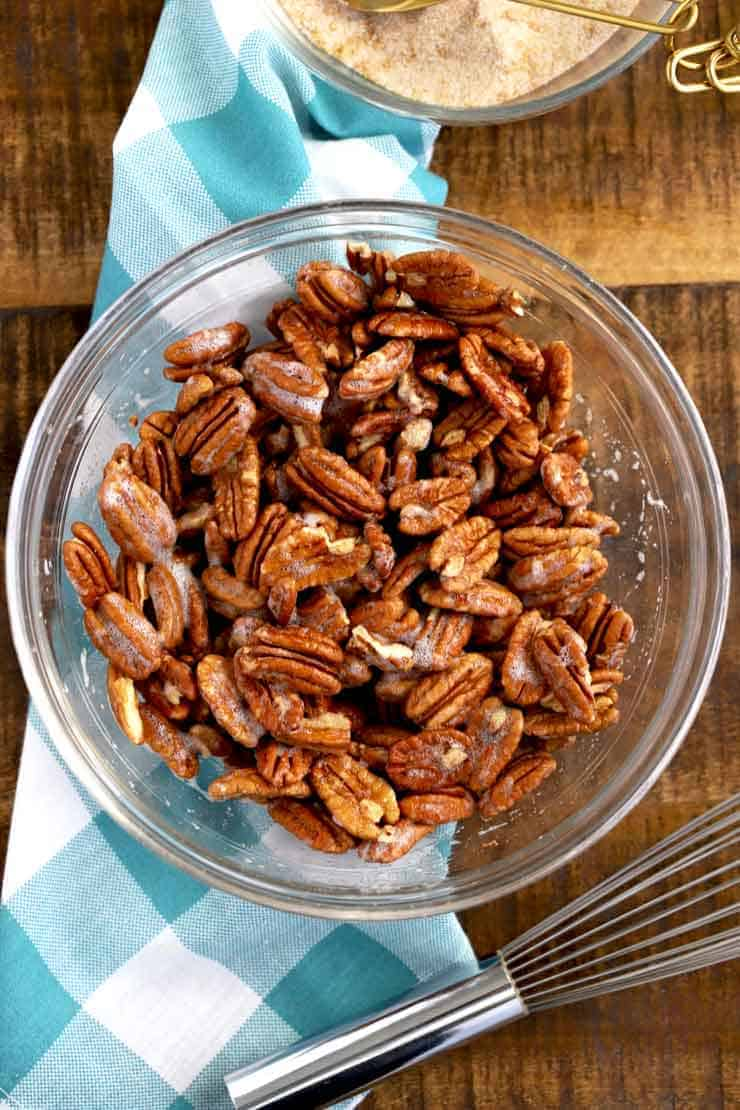 Pecans mixed with egg whites.
