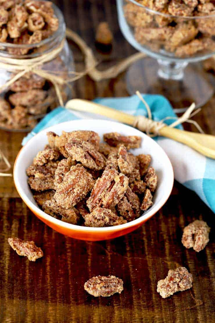 A small bowl of candied pecans.