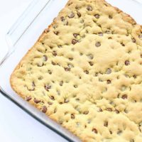 Chocolate Chip Cookie Bars in a glass baking pan