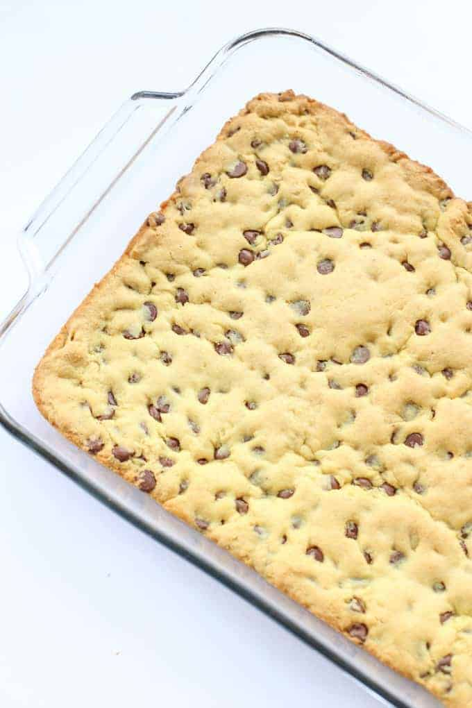 Chocolate Chip Cookie Bar baked in a 9x13 glass baking pan