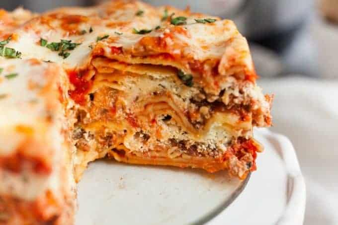 Instant Pot Lasagna with a slice out