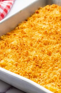 baked mac and cheese in a pan square