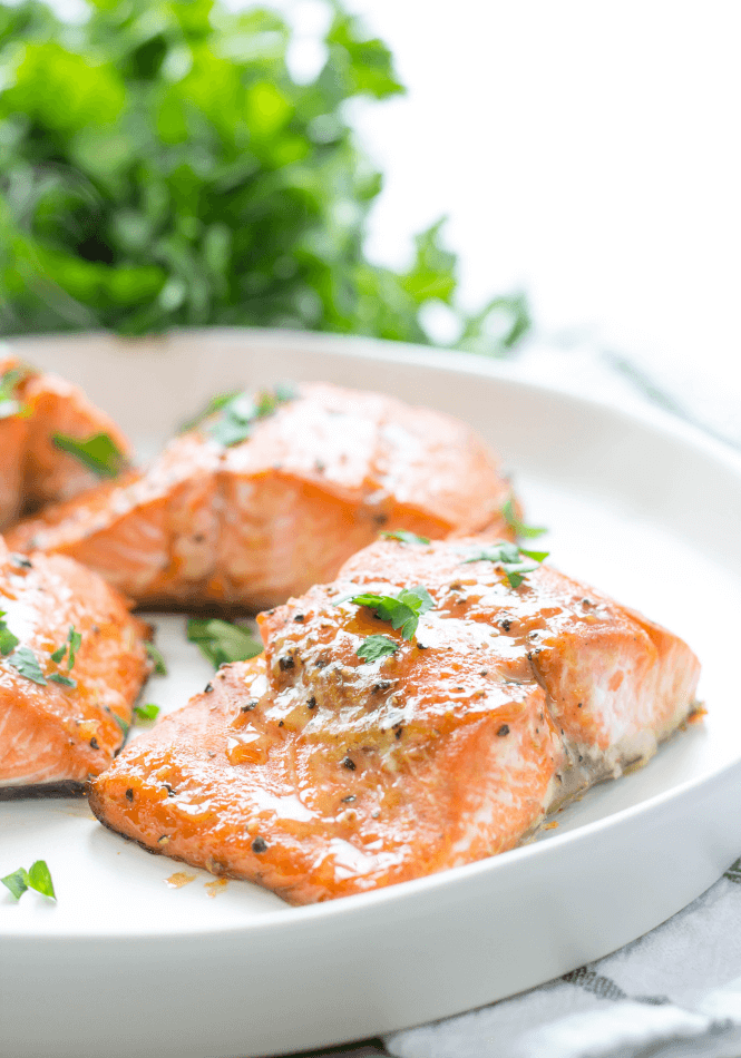 Air Fryer Salmon with Brown Sugar Glaze by Simply Made Recipes