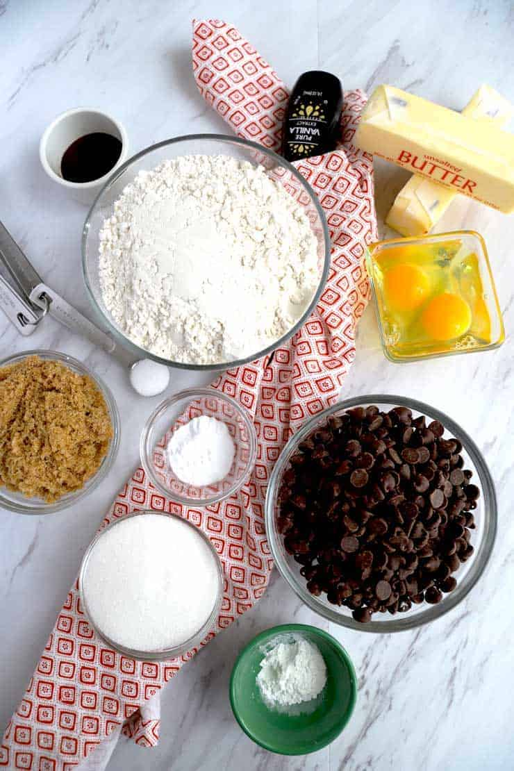 Ingredients to make chocolate chip skillet cookie.