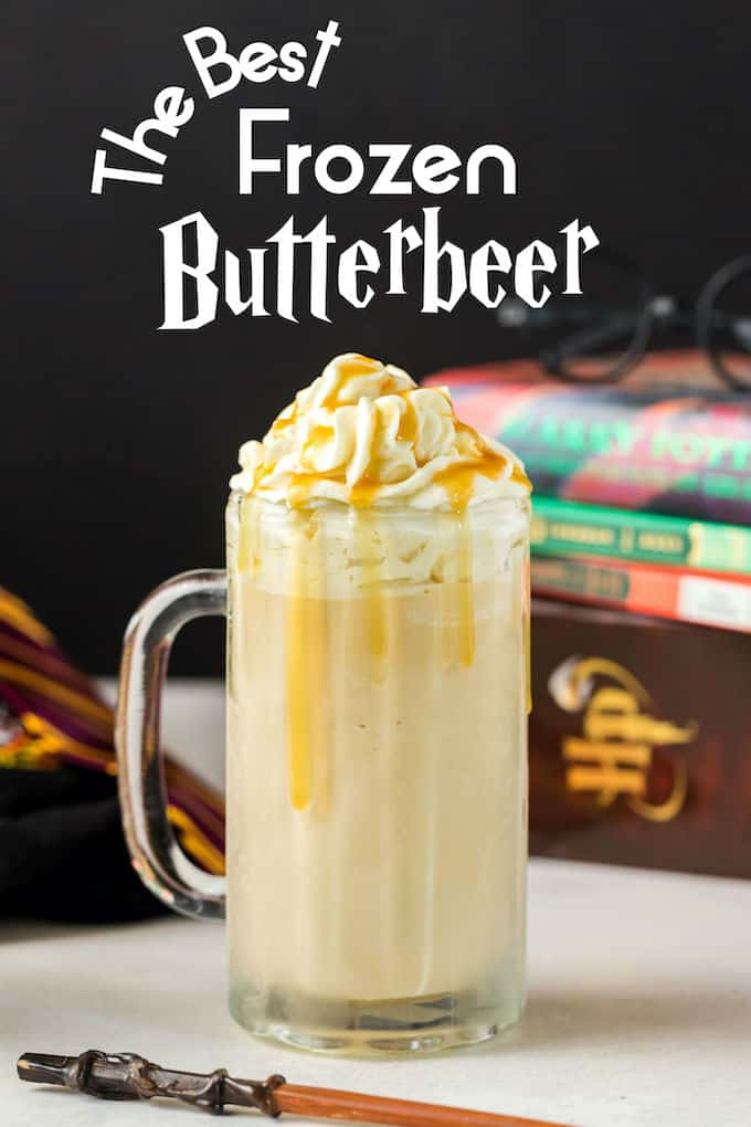Copycat Harry Potter Frozen Butterbeer on a table in front of Harry Potter Books