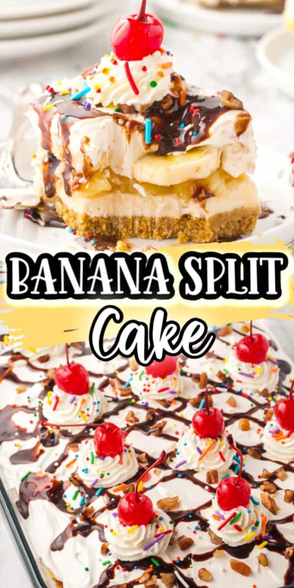 Banana Split Cake Pinterest Image