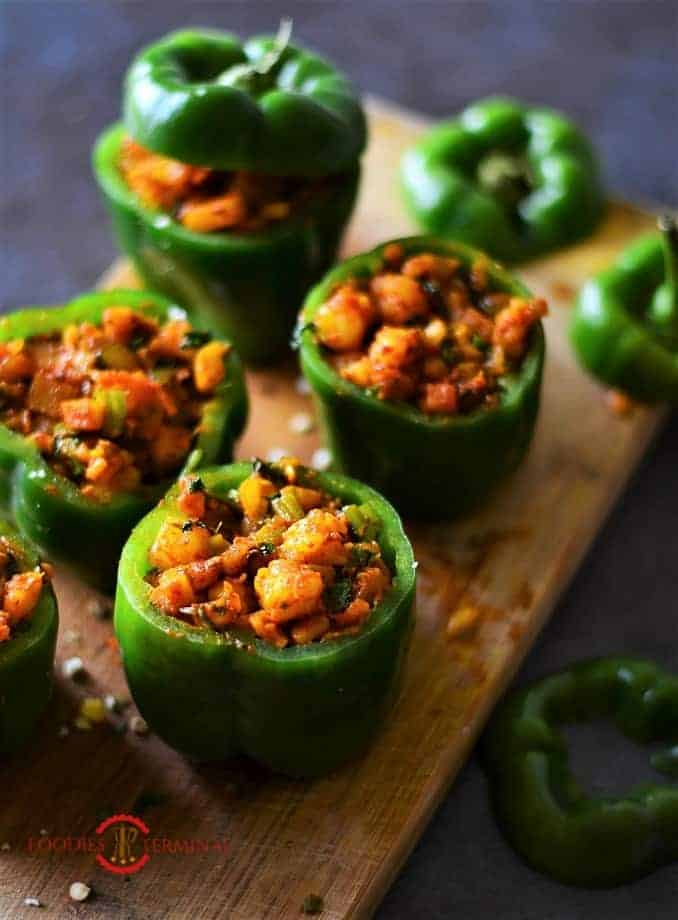 Shrimp Stuffed Bell Peppers by Food Is Terminal