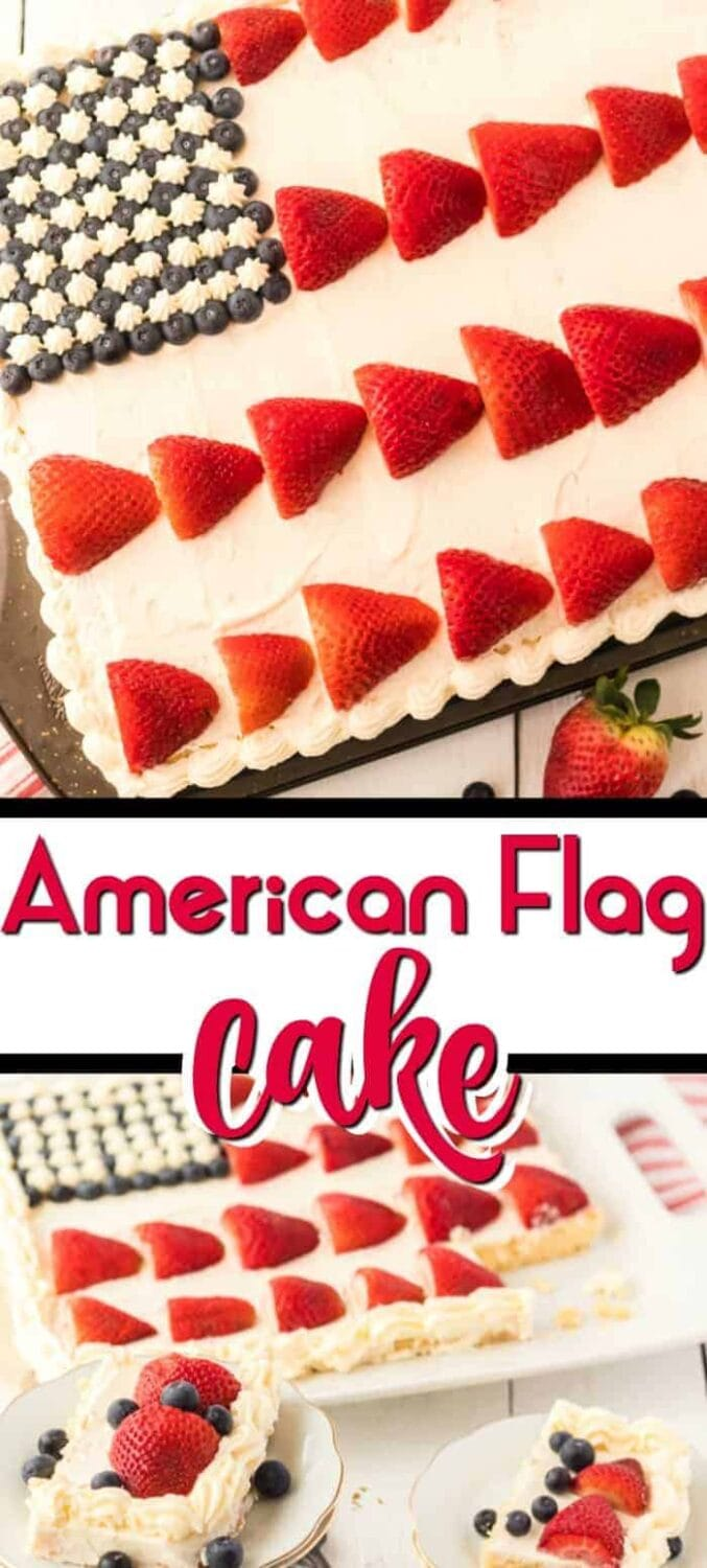 This Patriot American Flag Cake is made from a delicious classic yellow sheet cake topped with creamy almond cream cheese frosting. Get your red, white and blue on by topping with fresh strawberries and blueberries create our beloved Old Glory!
