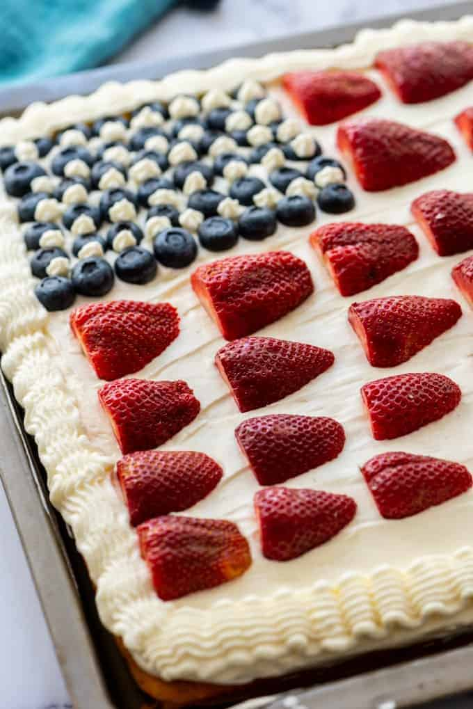 Easy American Flag Cake with strawberries and blueberries