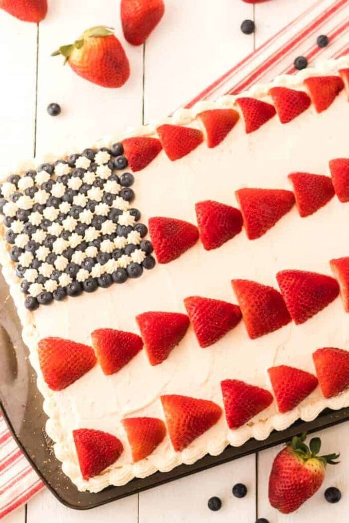 American Flag cake with strawberries and blueberries