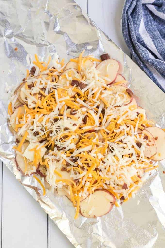 Campfire Potatoes with toppings