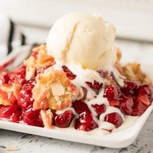 cherry dump cake featured image