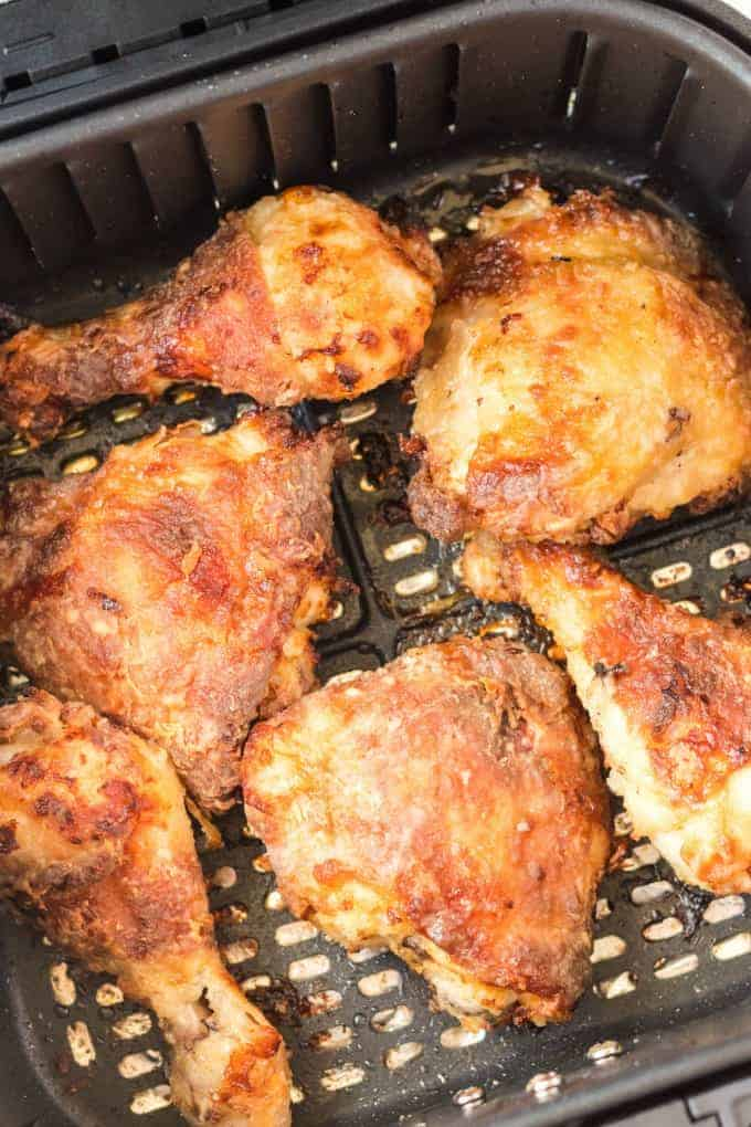 Air Fryer Fried Chicken in an air fryer basket