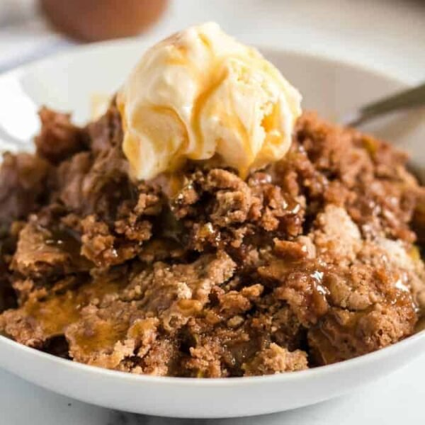 apple dump cake featured image with ice cream
