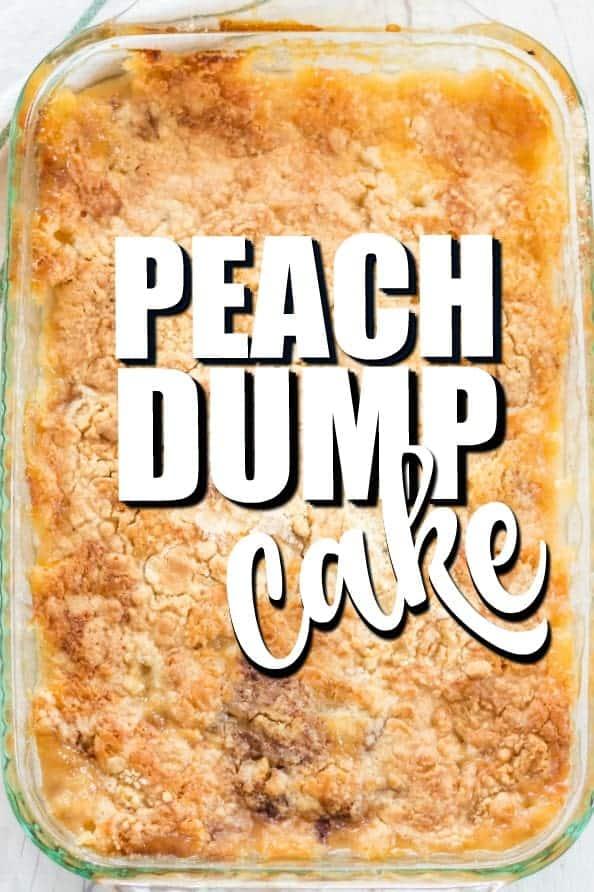 Peach Dump Cake in a baking dish