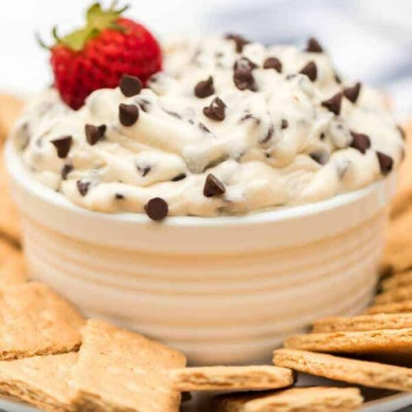 Cookie Dough Dip with graham cracker and strawberry