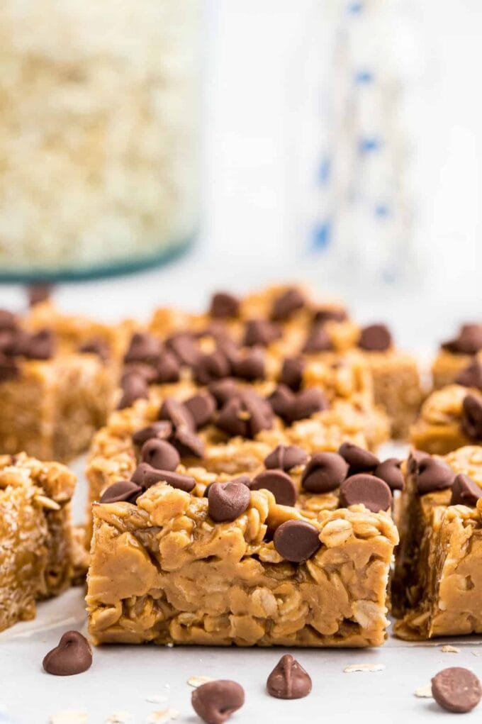 Oatmeal Peanut Butter Bars with chocolate chips scattered