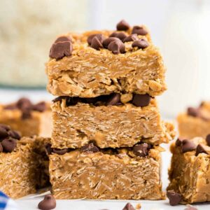 3 Peanut Butter Oatmeal Bars cut in squares stacked on top of each other