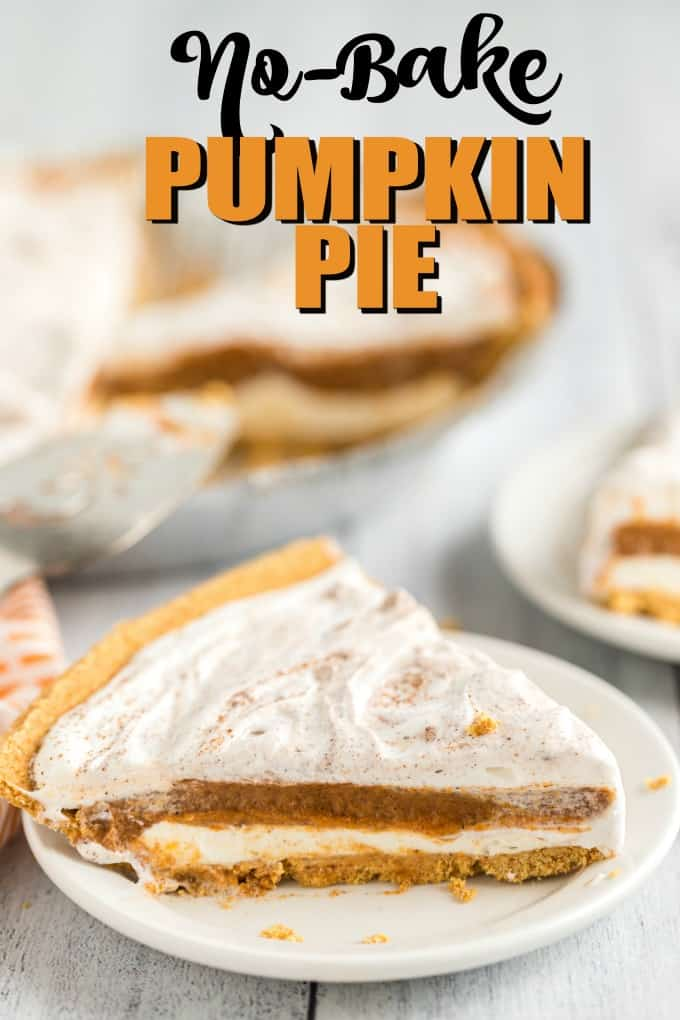 No-Bake Pumpkin Pie on a white plate