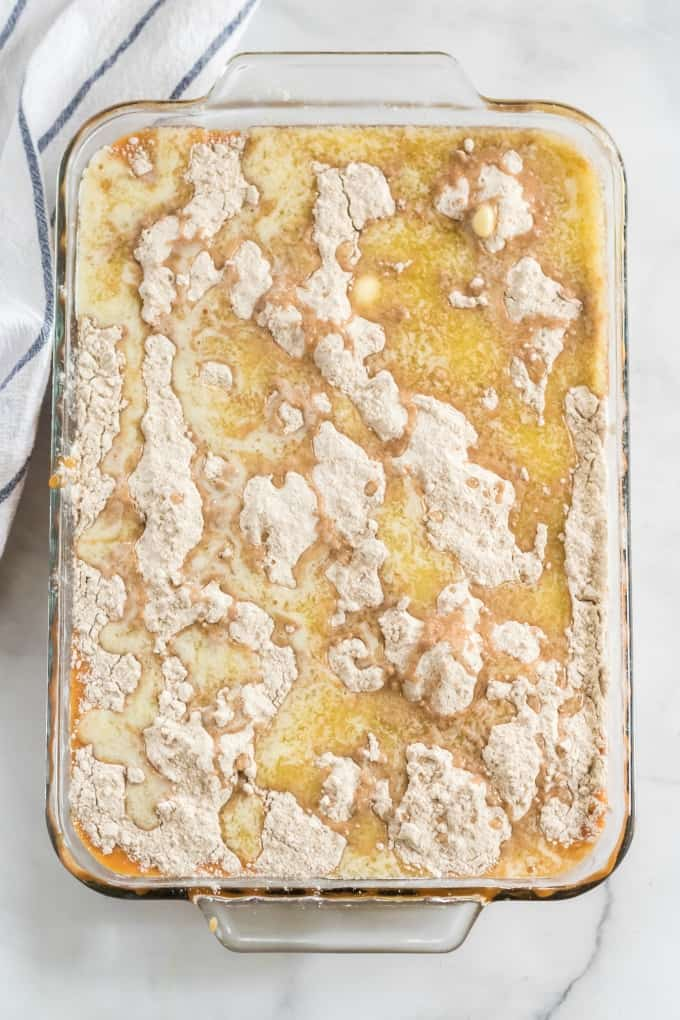sprinkle dry cake mix on pumpkin mixture