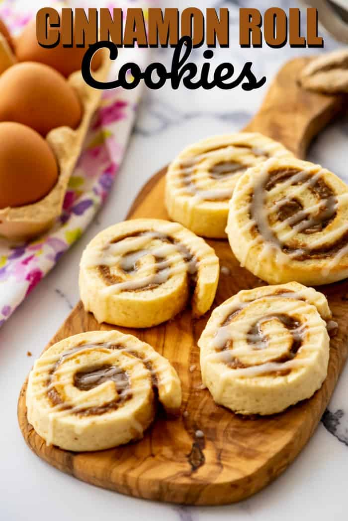 cinnamon roll cookies on a cutting board