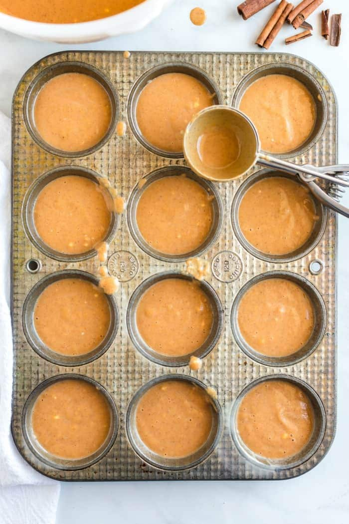 scoop batter into muffin tin