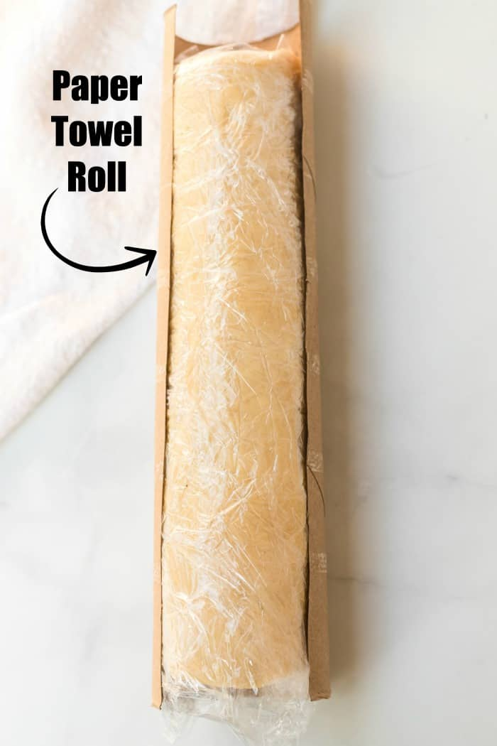 wrap dough in a paper towel roll