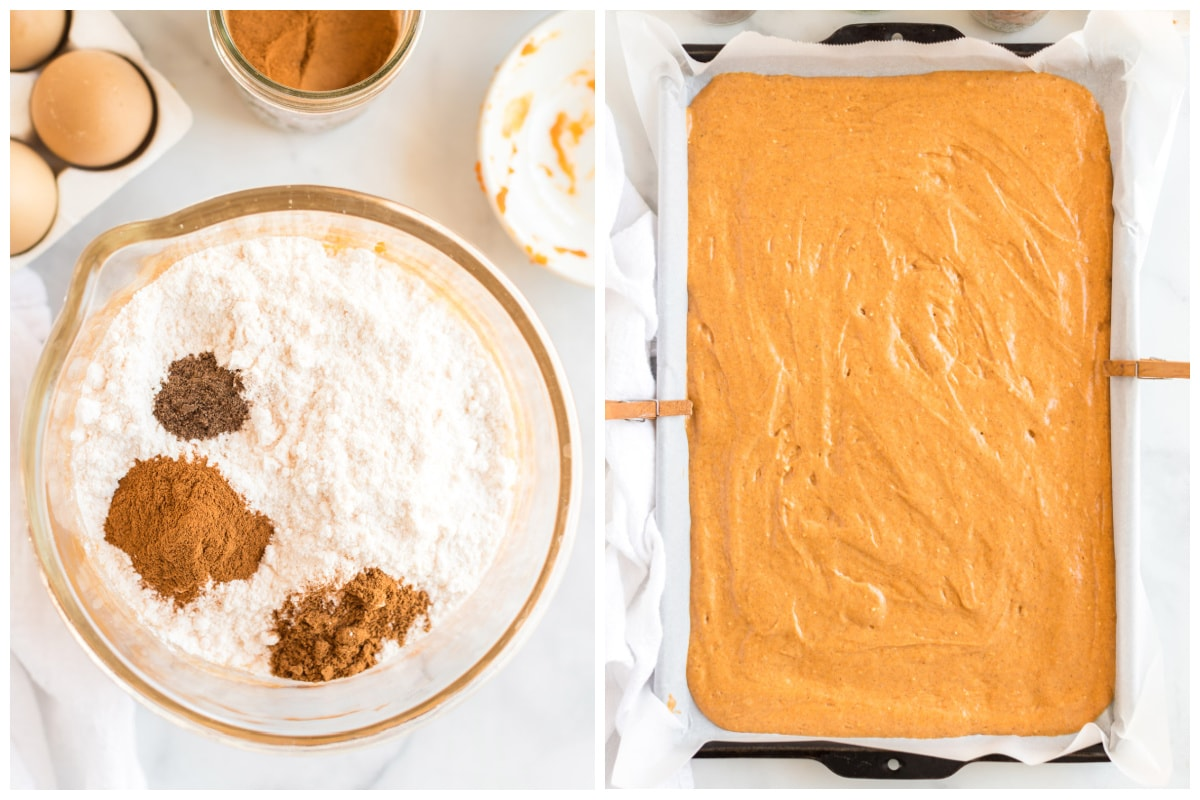 add in the dry ingredients and pour into baking pan