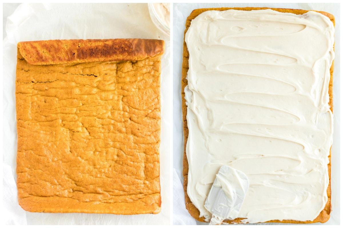 spread the cream cheese into the cake