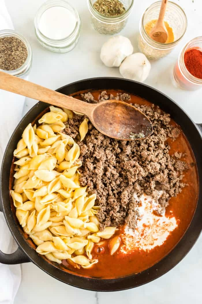 Beef and Shells ingredients