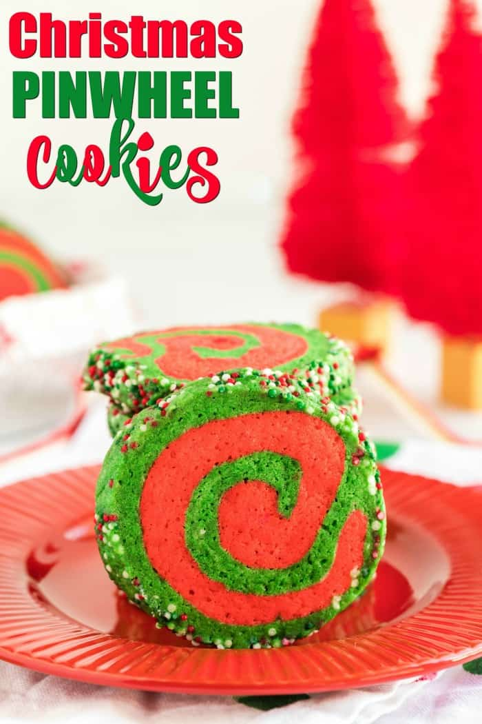 Red and green Christmas Pinwheel Cookies on a red plate