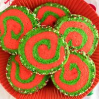 Christmas Pinwheel Cookies on a red plate