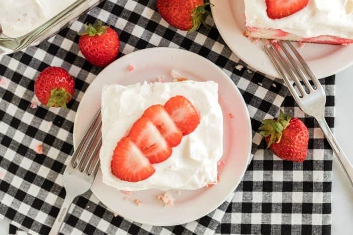 Jello poke cake on a plate