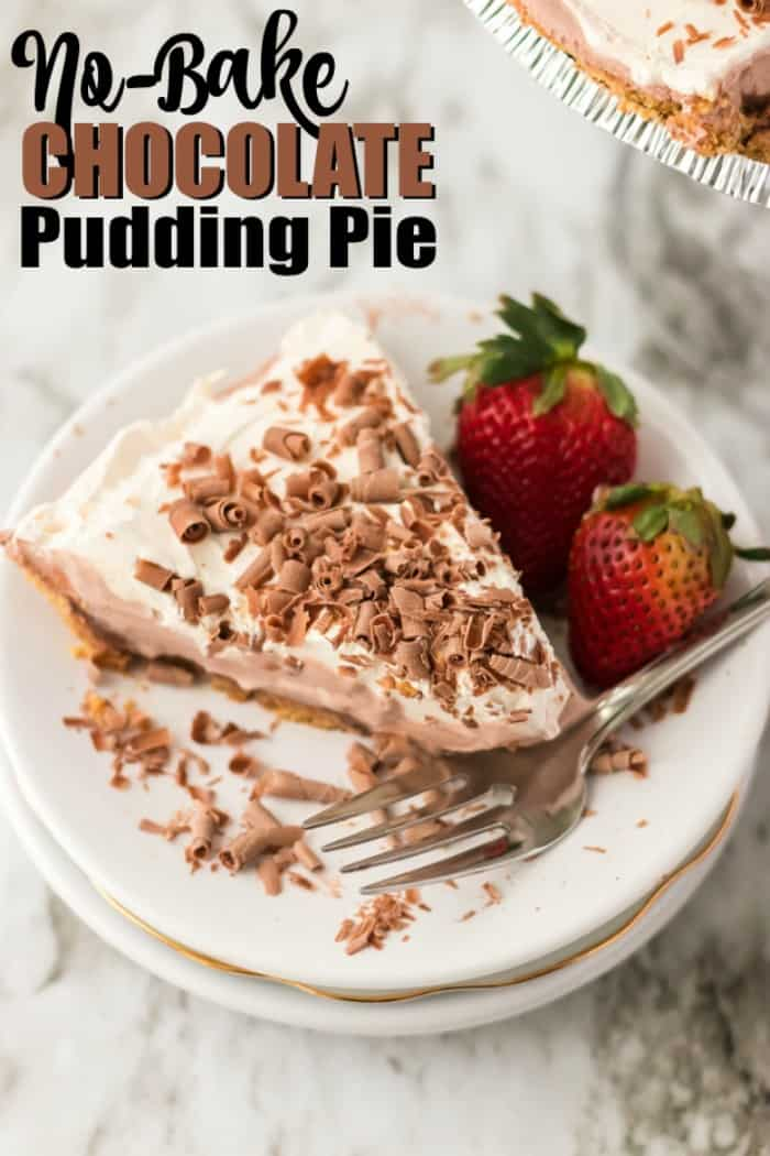 No Bake Chocolate Pudding Pie on a plate with strawberries