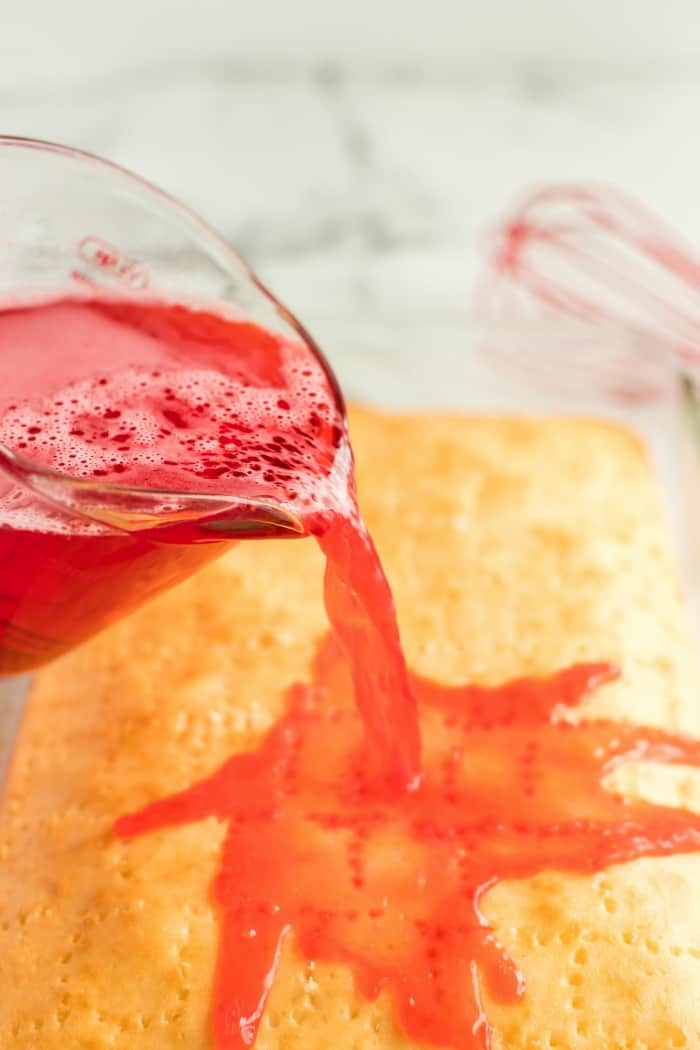 Pour jello over the cake
