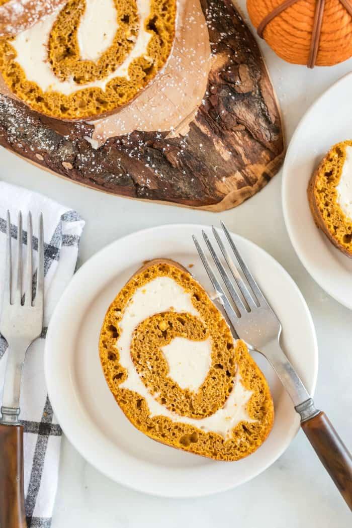 Pumpkin Roll slice on a plate