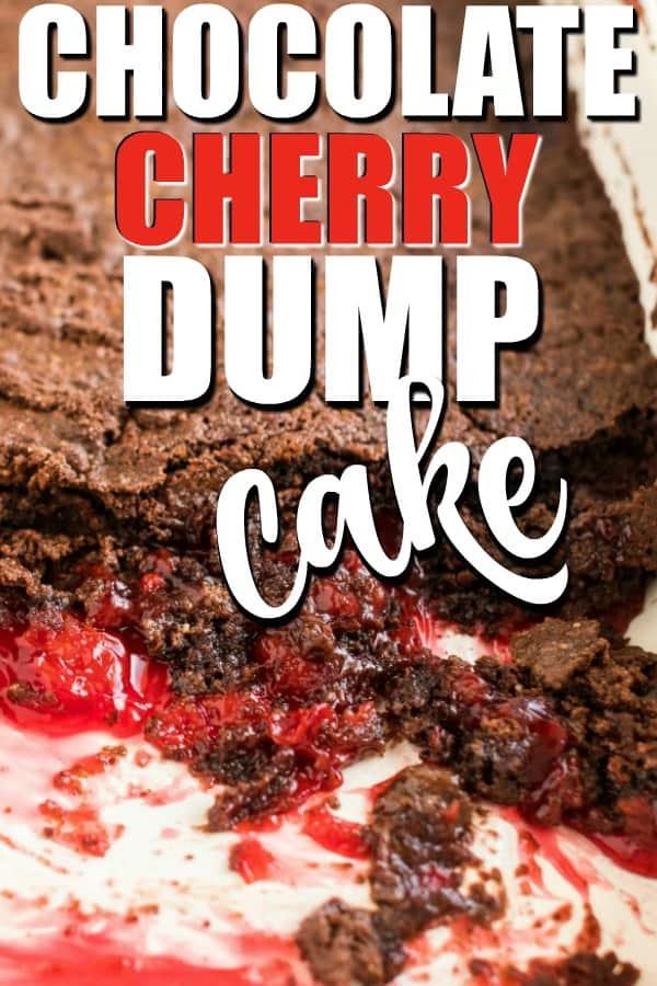 Chocolate cherry dump cake in a pan pin