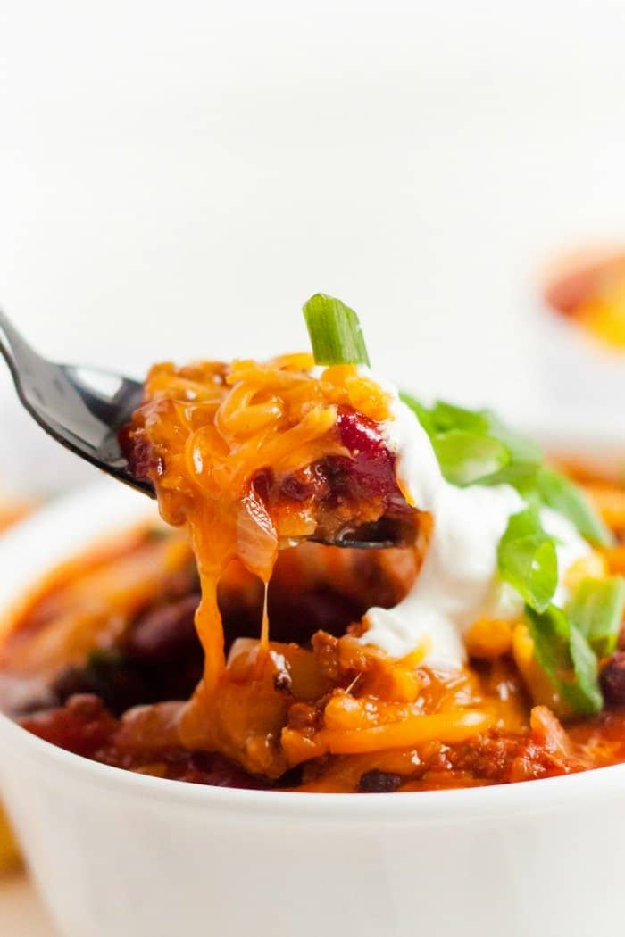 Instant Pot Chili spoon close up