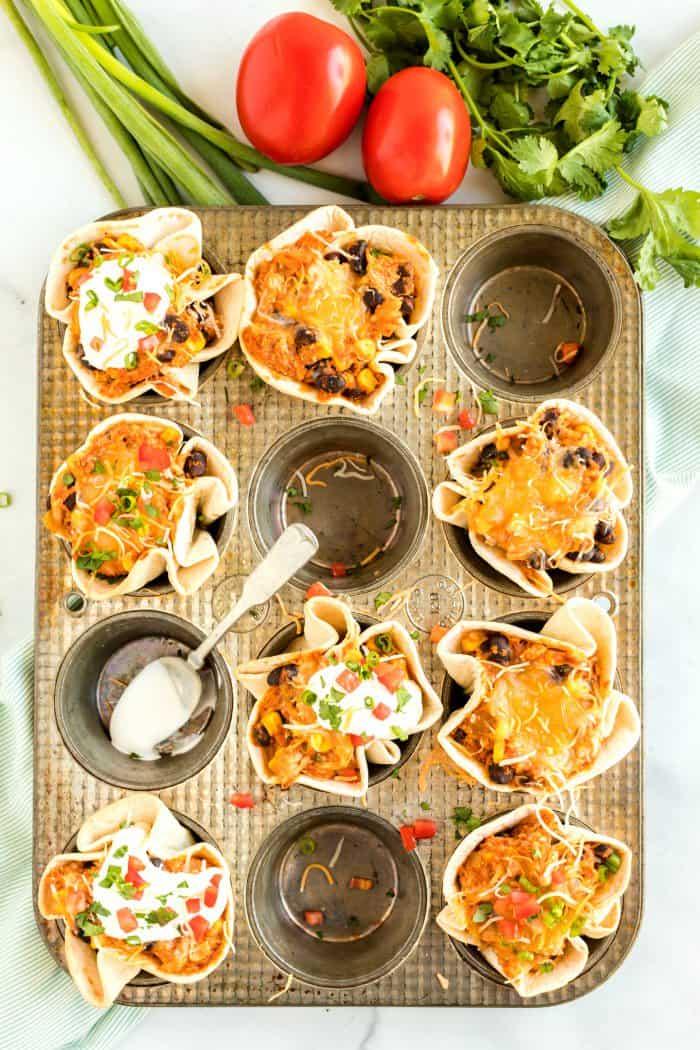 Mini Enchilada Cups in pan