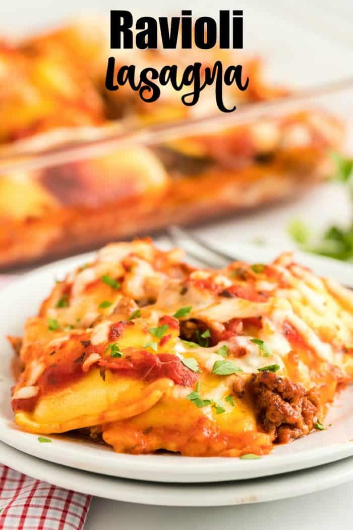 Ravioli Lasagna on a white plate