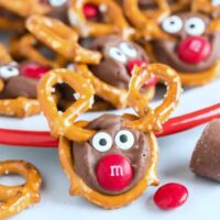 Reindeer Pretzels with candy eyes and red candy nose