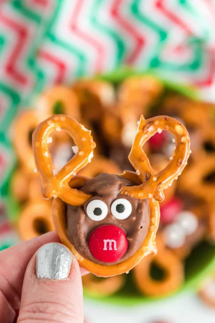 Reindeer Pretzels holding in a hand