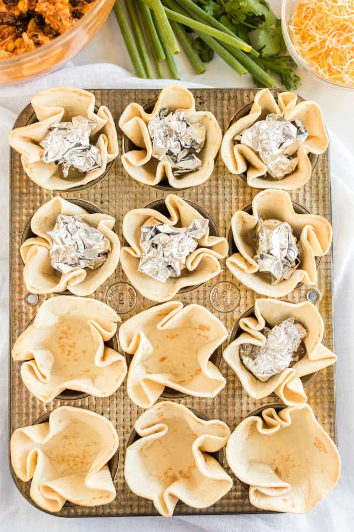 Tin foil in tortilla cups