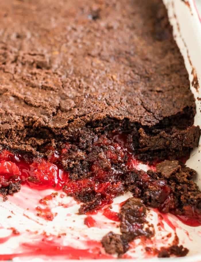 chocolate cherry dump cake in a pan
