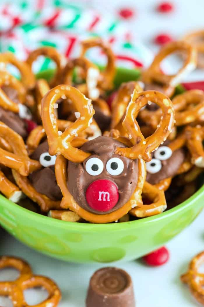 Reindeer Pretzels in a green bowl